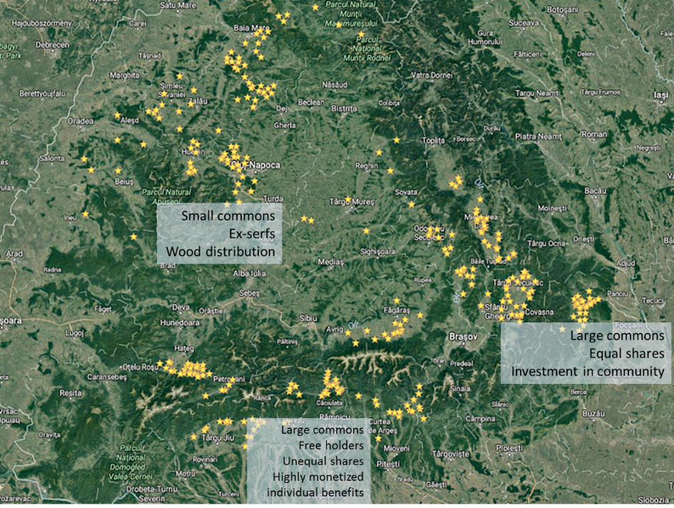 Map 2 : Community land tenure arrangements in Romania